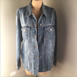 NWT- GAP Oversized Distressed Icon Denim Jacket